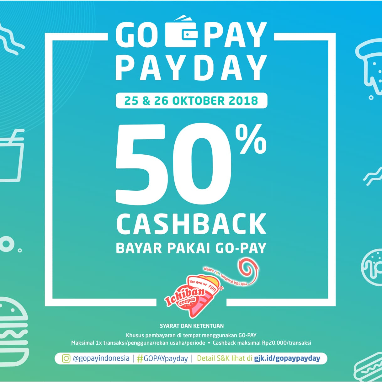 Enjoy 50% Cashback at Ichiban Crepes with Gopay